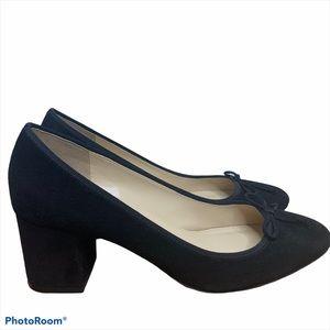 J Crew Black Suede Block Heels Size 8